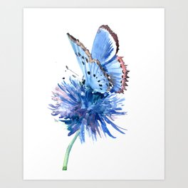 Blue Butterfly and Blue Flower, marine blue minimalist floral butterfly design Art Print