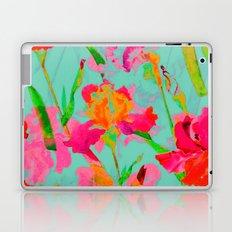 bright abstract iris on turquoise Laptop & iPad Skin