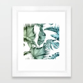 Tropical Palm Leaves Turquoise Green Blue Gradient Framed Art Print