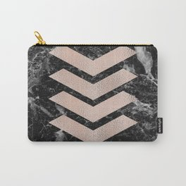 Black marble & rose gold chevrons Carry-All Pouch
