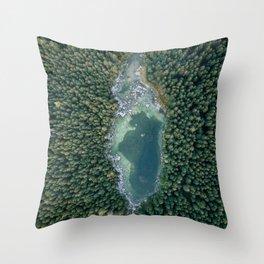Aerial photo of a magic lake hidden inside a pine forest Throw Pillow
