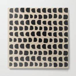 Modern Mudcloth Pattern - Black and White Metal Print