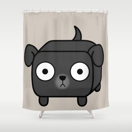 Pitbull Loaf - Black Pit Bull with Floppy Ears Shower Curtain