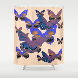 BLUE-PUCE PURPLE  BUTTERFLIES  CREAM COLOR ART Shower Curtain