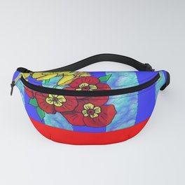Blue and Red Floral pattern Fanny Pack