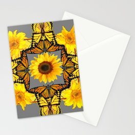 WESTERN STYLE YELLOW SUNFLOWERS & ORANGE MONARCH BUTTERFLIES Stationery Cards