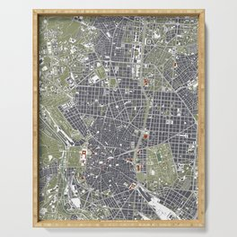 Madrid city map engraving Serving Tray