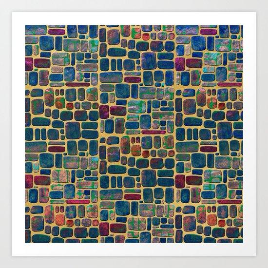 Abstract Tile Mosaic Art Print
