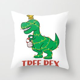 Cute Tree Rex Christmas Tree Dinosaur Holiday T-Shirt Throw Pillow