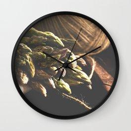 Fresch Asparagus on the table Wall Clock