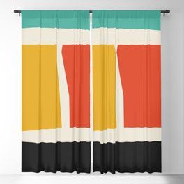 cutout shapes abstract mid century illustration - Mid century modern, mid century wall art, mid cent Blackout Curtain