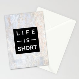 Marble Motto Life is Short Stationery Cards