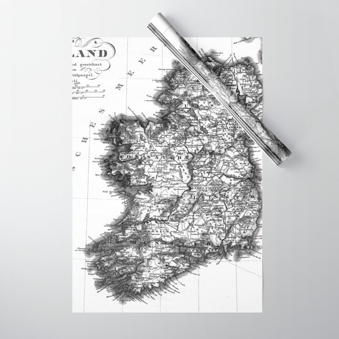 Vintage Black and White Ireland MAp Wrapping Paper by mapmaker