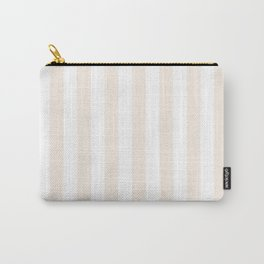 Narrow Vertical Stripes - White and Linen Carry-All Pouch