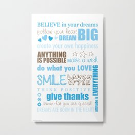 Quote Collage In Blue Metal Print
