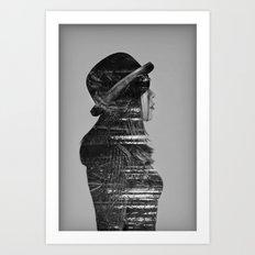 Black on black Art Print