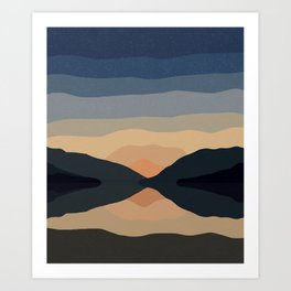 Sunset Mountain Reflection in Water Art Print