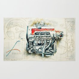 RETRO CUTAWAY ENGINE - ORIGINAL ARTWORK Rug