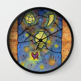 Touching the Light: One Danced with the Fireflies Illumination Print Wall Clock