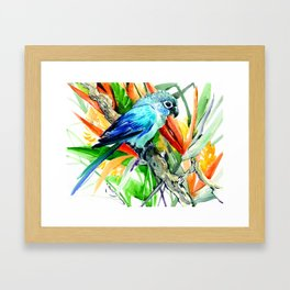 Parrot and Tropical Foliage Jungle floral design Framed Art Print