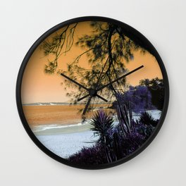 Tropical Beach in with Cacti in Orange Wall Clock