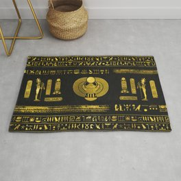 Golden Egyptian Scarab Ornament  on black leather Rug