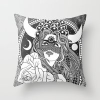 taurus Throw Pillows featuring Taurus by Jadranka Lacković / ojoMAGico