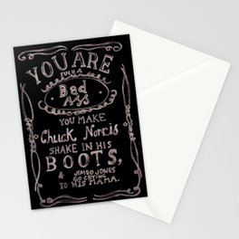 You are such a bad ass: watercolor typography print Stationery Cards
