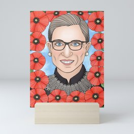 Ruth Bader Ginsburg portrait with poppies Mini Art Print