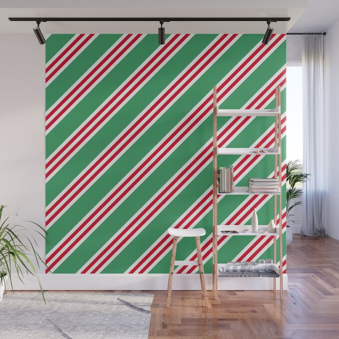 Christmas Stripes Large Small Small Wall Mural by spotandstripe