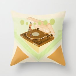 the girl who was roller skating on a record player... Throw Pillow