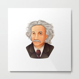 Illustration of the biggest physicist, the genius Albert Einstein. Metal Print