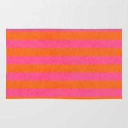 hot pink and orange stripes Rug