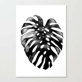 Monstera (black and white) Canvas Print