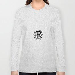 Monogram Letter F in Black and White Long Sleeve T-shirt