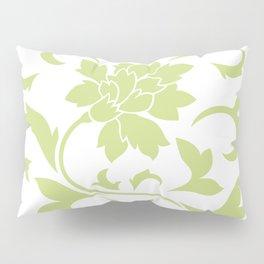 Oriental Flower - Daiquiri Green Circular Pattern On White Background Pillow Sham