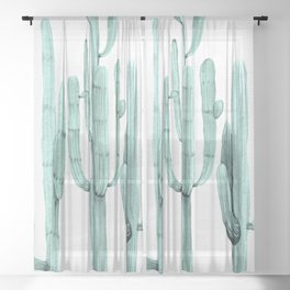 Turquoise Cactus Watercolor Painting Sheer Curtain