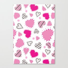 Hearts, Swirls, Dots and Stripes on White Canvas Print