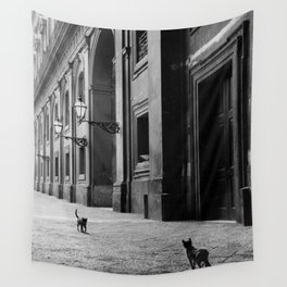 Two French Cats, Paris Left Bank black and white cityscape photograph / photography Wall Tapestry