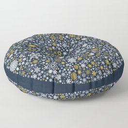 A Thousand Snowflakes in Twilight Blue Floor Pillow