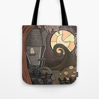 nightmare before christmas Tote Bags featuring Nightmare Before Christmas by Lacey Simpson