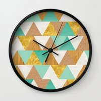 triangles Wall Clocks featuring Triangles by Cat Coquillette