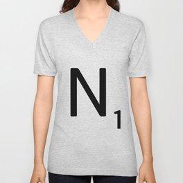 Letter N - Custom Scrabble Letter Tile Art - Scrabble N Initial Unisex V-Neck