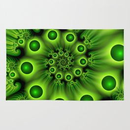 Green Fractal, Modern Spiral With Depth Rug