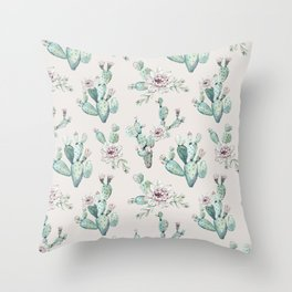 Pretty Cactus Rose Pattern Pale Pink + Green Throw Pillow