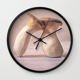 Lean on me - King Oyster Mushrooms l Food Photography Art Wall Clock