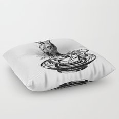 Rabbit in a Teacup | Black and White Floor Pillow