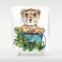 cheetah Shower Curtains featuring cheetah by Anna Shell