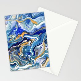 Abstract acrylic blue and gold Stationery Cards