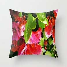 Vibrant pink and red flowers Throw Pillow